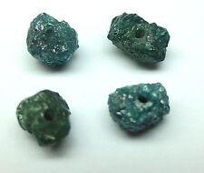 5+ Carat 4 stone lot of BLUE Raw Color Enhanced Rough Diamond BEADS