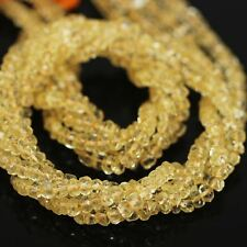 """Yellow Golden Citrine Faceted Gemstone Loose Rondelle Cut Beads Strand 13"""" 4mm"""
