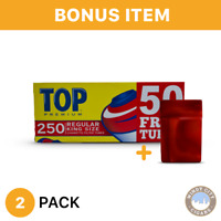 2 Boxes TOP King Size Full Flavor Filtered Cigarette Tubes& bonus case