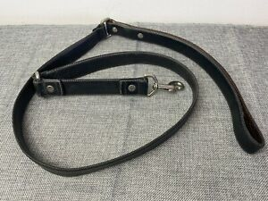 """Coach Black Leather Dog Leash Handcrafted Silver Hardware 50"""" long"""