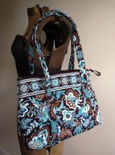 retired vera bradley JAVA BLUE brown turquoise paisley zipper tote shoulder bag