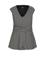 City Chic Stripe Peplum Top Black & White Cap Sleeve V Neck Plus Size M 18