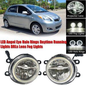 LED Fog Light Kit Angel Eye Rings DRL Daytime Running Lamp Fit For Toyota Yaris