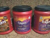 3 Empty Plastic Coffee Cans 10.3oz Storage Craft Garage Kitchen Folgers Red EUC