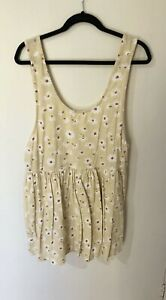 BILLABONG - - Yellow Flower Linen Backless Playsuit With Pockets Size 14