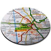 Round Mouse Mat  - Bury St Edmunds England Travel UK GB Map  #44491