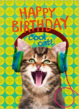 CARTE DE VOEUX CHAT HAPPY BIRTHDAY COOL CAT  JOYEUX ANNIVERSAIRE 12 cmx17cm CARD