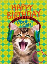 CARTE DE VOEUX CHAT HAPPY BIRTHDAY COOL CAT  JOYEUX ANNIVERSAIRE 12 cmx17cm CARD