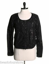 Womens Diesel Jeans Nylon Jacket Black w/ Splatter Detail Collarless sz S