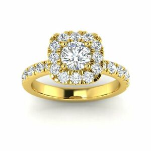 Certified 2 Carat TW Natural Diamond Engagement Ring in 14k Yellow Gold (H-I