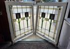2+Antique+Stained+Leaded+Glass+Windows+from+Chicago+Circa+1925+