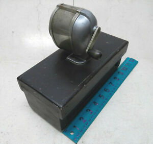 Vintage Speedaway Pencil Sharpener on Wood Block Primitive Base Mechanical Crank