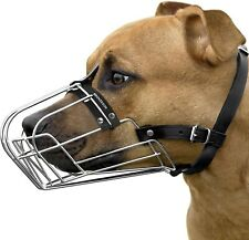 BronzeDog Pitbull Dog Muzzle Wire Basket Amstaff Pit Bull Metal Mask Adjustable