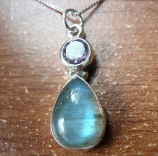 Labradorite and Faceted Amethyst Teardrop 925 Sterling Silver Pendant