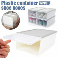 12PCS Clear Drawer Plastic Shoe Storage Boxes Stackable Container Home Organizer