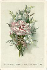"""1890-1899 Lovely Carnation Bouquet """"Best Wishes for the New Year"""" Victorian Card"""