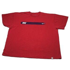 Vintage Nike T-Shirt Mens XXL Red Swoosh Logo Basketball Hip Hop USA Sports 90s