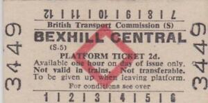British Railways BTC Red Diamond Platform Ticket BEXHILL CENTRAL 3449