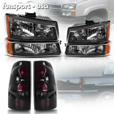 for 03-06 Chevy Silverado 1500 2500 2500 HD Black Headlights + SMOKE Tail Lights