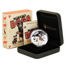 Tuvalu Working Dogs Australian Cattle Dog $1 2011 Proof Silver Crown Perth Case