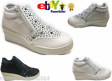 Womens Ladies Lo Top Diamante Suede Ankle Wedge Hi Trainer Boots Zip Shoe Size