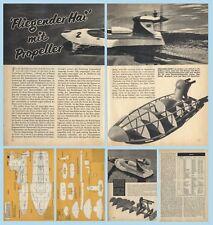 Bauplan Rennboot mit Luftschraubenantrieb HAIFISCH - Original aus dem Jahr 1960