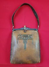 Antique Leather Purse Handbag Bag Clutch Hand Tooled Leaves Art Deco Latch Brass