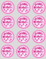 Cupcake Toppers Birthday Pink Balloons Pre-cut Wafer Paper Decoration 40mm x 12