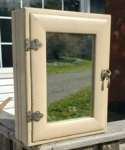 Vintage Wood Bathroom Medicine Cabinet with Cool Latch and Hinges