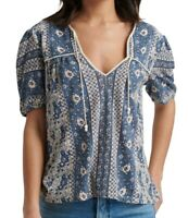 Lucky Brand Womens Top Blue Multi Size XS Mixed-Print Tie-Neck Blouse $59 100