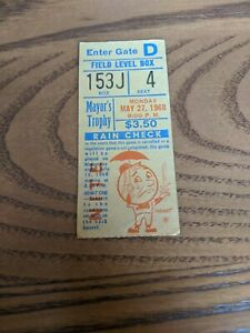 1968 Mets Yankees Mayor's Trophy Game Ticket Stub Swoboda Inside-The-Park HR