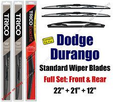 Wiper Blades 3pk Front Rear Standard fit 2011-2016 Dodge Durango - 30221/210/12A