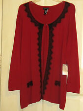 WOMENS  4X OPEN FRONT SWEATER NWT RED BLACK LACEY ACCENT JACKET BEAUTIFUL!