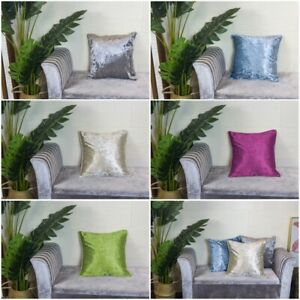 NEW Crushed Velvet Cushion Covers Luxury Plush Plain 18 X 18 inches With Piping