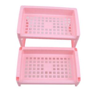 2 Tier Rectangle Plastic Basket Organizer Shelf Bathroom Makeup Storage Rack HD
