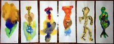 Georges Hugnet : 6 peintures sur papier - gouache signée datée 1971 Surréalisme