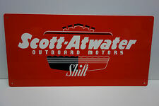"SCOTT-ATWATER OUTBOARD MOTORS SHIFT HEAVY ENAMEL DIE CUT DEALER SIGN 12"" BY 24"""