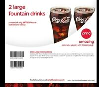 AMC Theaters (2x) Large Fountain Drinks Coke Voucher || Fast e-Delivery!!