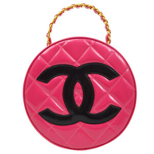 CHANEL Quilted CC Logos Round Cosmetic Vanity Chain Hand Bag 3348720 Pink 92591