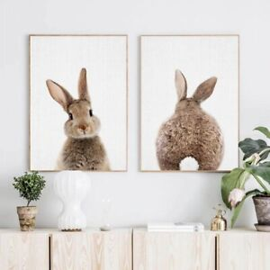 Bunny Rabbit Wall Art Picture Woodland Animal Canvas Poster Kids Baby Room Decor