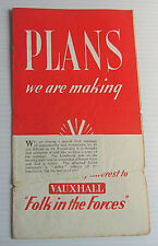 WW2 Vauxhall Car Leaflet -  Job Rights for Serving Military Soldiers / Sailors