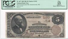 $5 Nat'l Currency, 1882BB, CH1183, Somersworth NB, Somersworth NH, PCGS F15 App