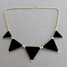 Fashion Black Tempting Trendy Candy Enamel Necklace Triangle Bib Statement New
