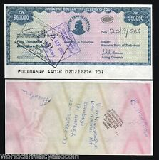 ZIMBABWE 50000 50,000 DOLLARS P19 2003 TRAVELERS CHECK USED CURRENCY MONEY NOTE