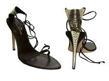 $675 ALEXANDRA NEEL Carmen Plaza Silver Metal Filigree Black Satin Sandal Shoes