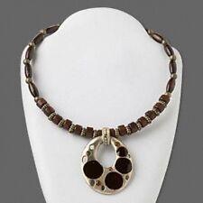 Antiqued Black Enamel Rhinestones Pewter Pendant & Wood Choker Necklace
