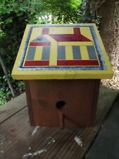 Handmade Solid Wood Birdhouse -Hand Painted Country Primitive Home Tweet Home