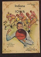 October 12 1963 NCAA Football Program Indiana at Iowa EX+