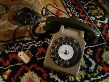 Téléphone fixe cadran S63  - Marron beige et kaki - Vintage - avec ecouteur