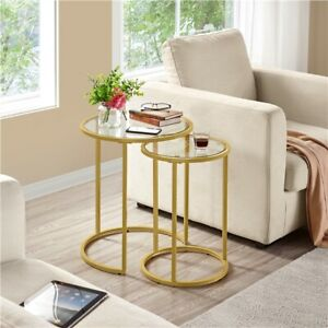 Round Nesting Side Table End Table with Metal Frame and Glass Top, Mustard Gold